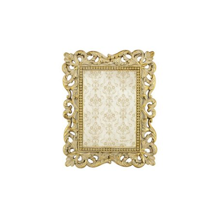 Porta Retrato de Resina Clássico Ornamentado Dourado 10x15