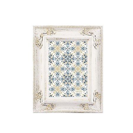 Porta Retrato Clássico Branco e Dourado 13x18