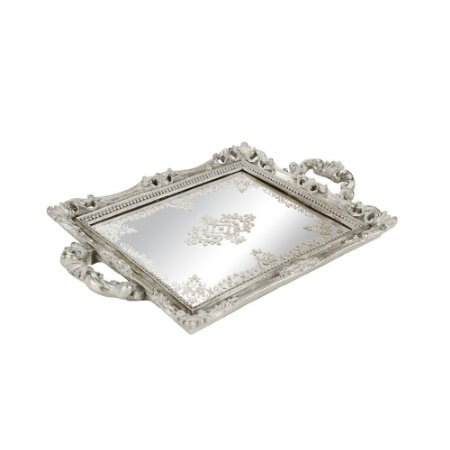 Bandeja em Resina com Espelho Prata Pequena