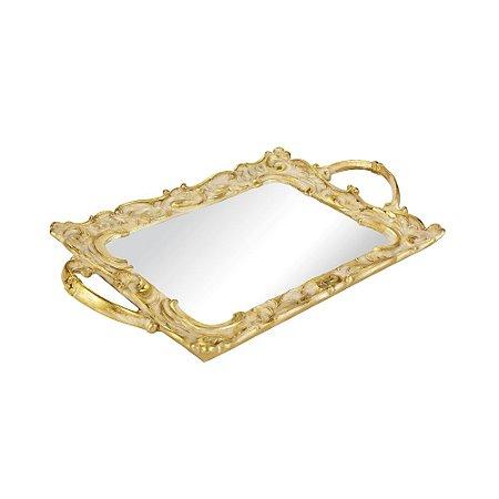 Bandeja em Resina com Espelho Dourada Ornamentada Pequena