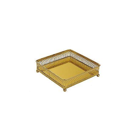 Bandeja em Metal Quadrada com Espelho Dourada Mini