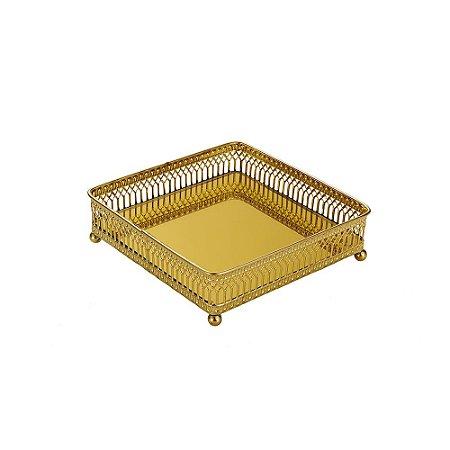 Bandeja em Metal Quadrada com Espelho Dourada Pequena