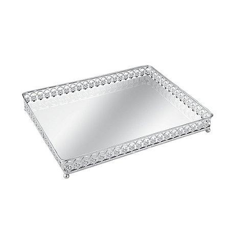 Bandeja em Metal Retangular com Espelho Prata Florada Grande
