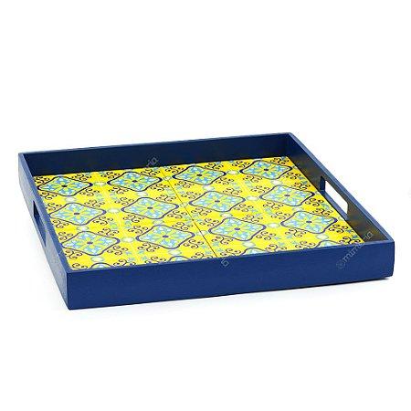 Bandeja 4 Azulejos Ladrilho Amarelo Moldura Azul Escuro
