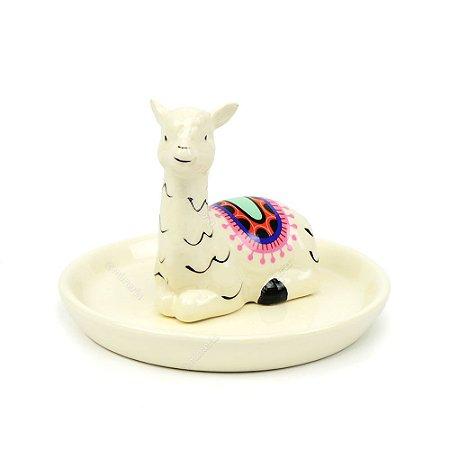 Porta-Joia em Cerâmica Lhama Branco