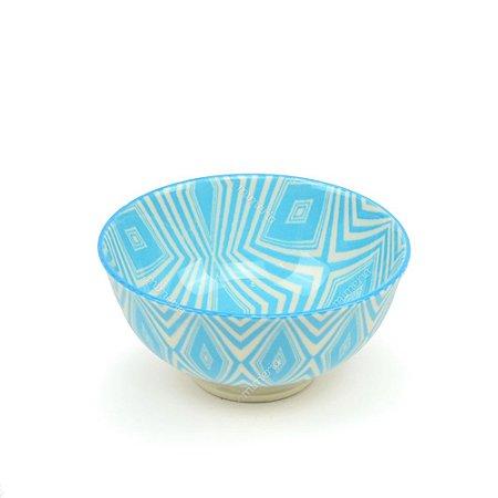 Bowl de Cerâmica Pequeno Geométrico Azul Claro