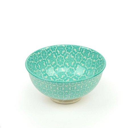 Bowl de Cerâmica Pequeno Floral Verde Água