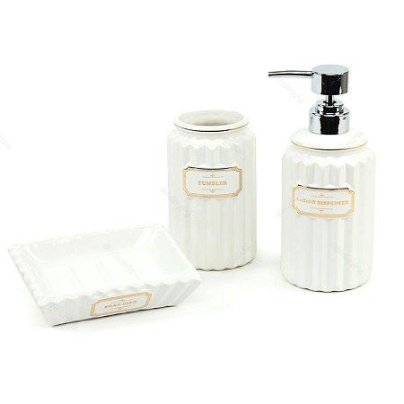 Kit de Banheiro Barber Branco e Dourado