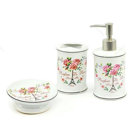 Kit de Banheiro Barber Flores Rosas