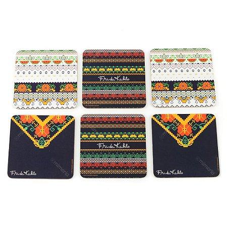 Conjunto 6 Porta Copos de Cortiça Frida Pixel