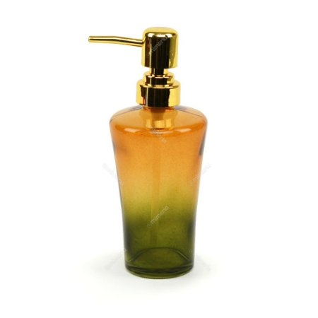 Porta Sabonete Líquido de Vidro Verde e Amarelo