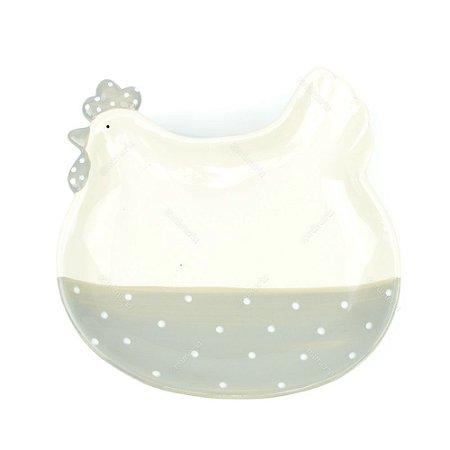 Petisqueira de Cerâmica Galinha Branca e Cinza