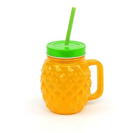 Copo de Vidro com Canudo Abacaxi Amarelo