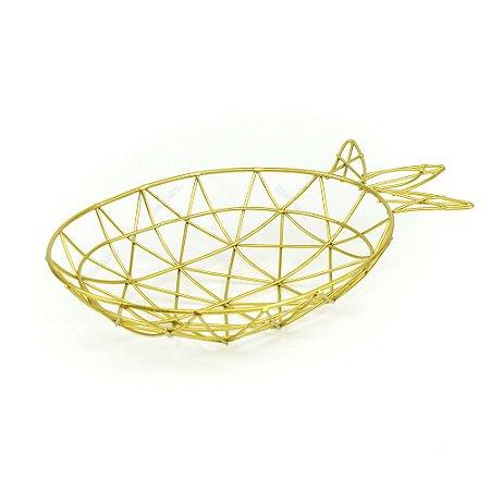 Bandeja de Metal Abacaxi Dourada