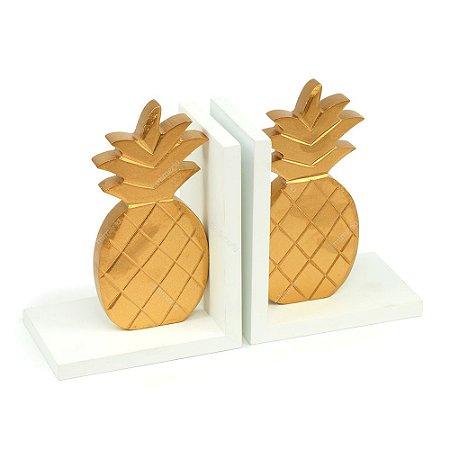 Aparador de Livros Madeira Abacaxi Dourado