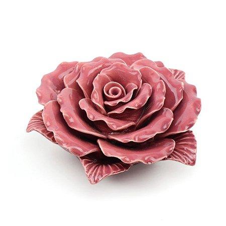 Flor Decorativa em Cerâmica Flor Rosa Média