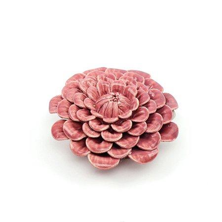 Flor Decorativa em Cerâmica Flor Dália Rosa Média