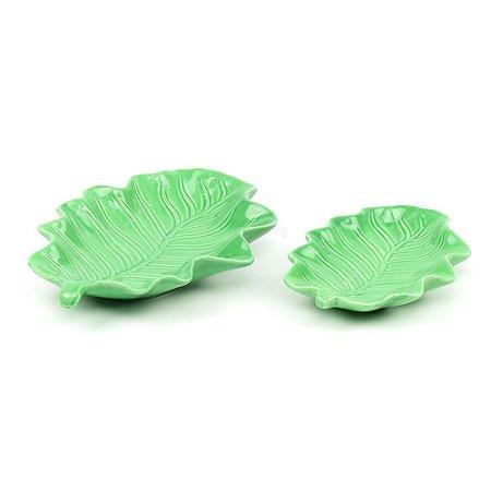 Kit 2 Petisqueiras em Cerâmica Folha Ondulada Verde