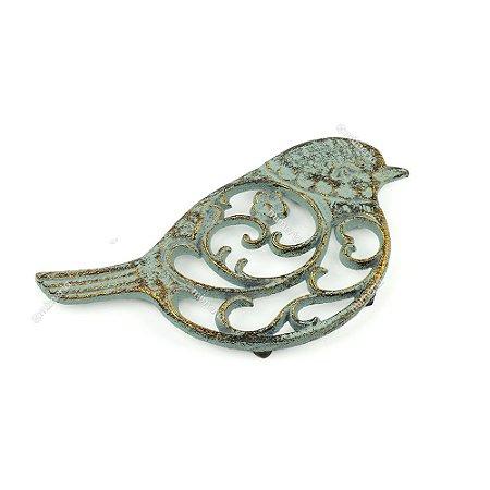 Descanso de Panela em Ferro Pássaro Verde e Dourado