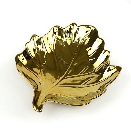 Petisqueira Folha em Cerâmica Dourada Grande