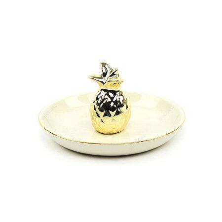 Porta-Joias em Cerâmica Abacaxi Dourado
