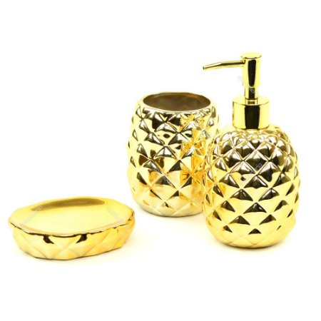 Kit de Banheiro em Cerâmica Abacaxi Dourado