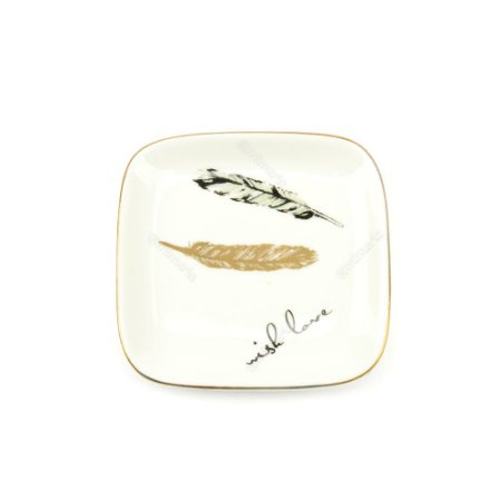 Mini Prato em Cerâmica Folhas Wish Love
