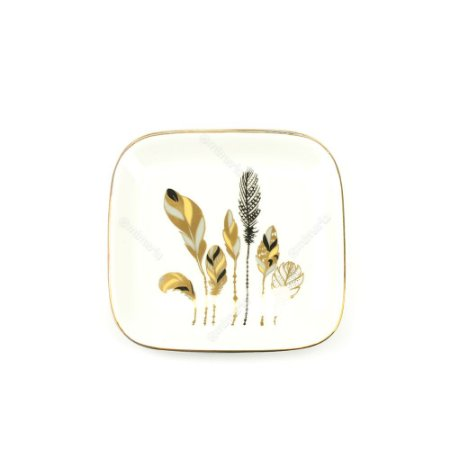 Mini Prato em Cerâmica Folhas