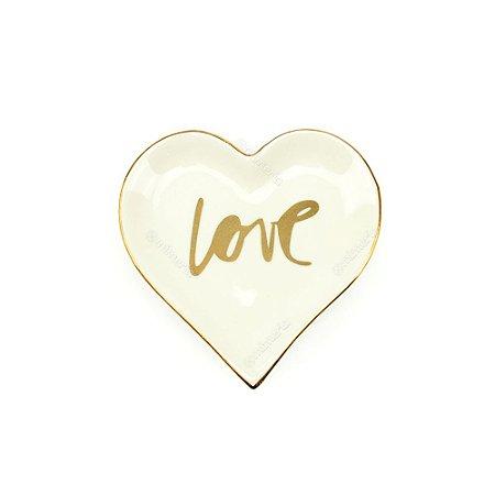 Mini Prato em Cerâmica Coração Love
