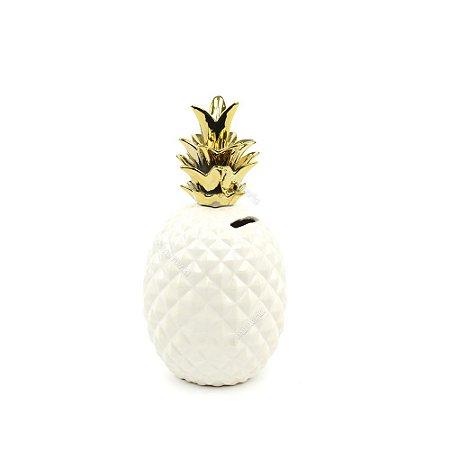 Cofre em Cerâmica Abacaxi Branco e Dourado Pequeno