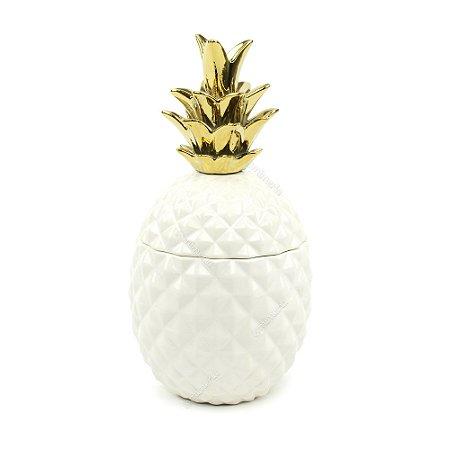 Pote de Abacaxi em Cerâmica Branco e Dourado Grande