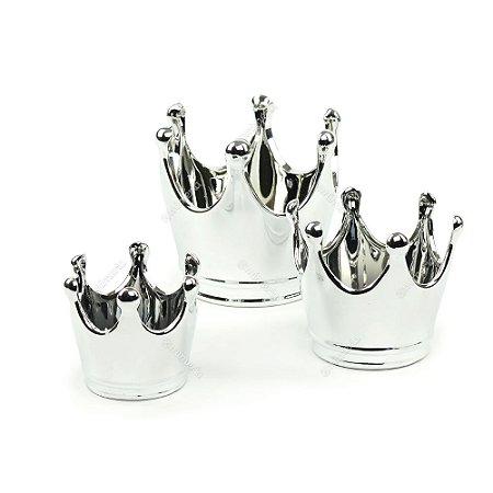 Kit 3 Potes em Cerâmica Coroa Prata
