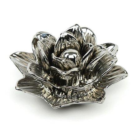 Flor Rosa Decorativa em Cerâmica Prata Grande