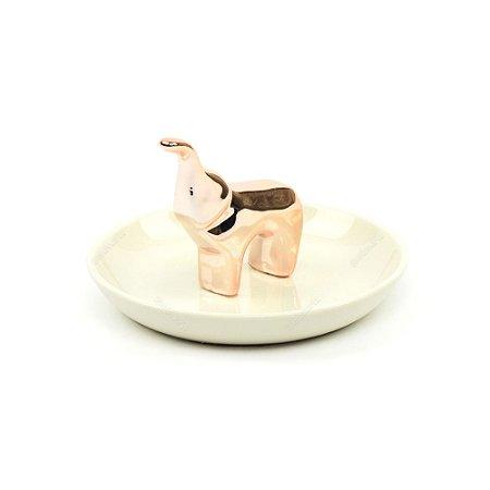 Porta-Joias em Cerâmica Elefante Rosa Gold