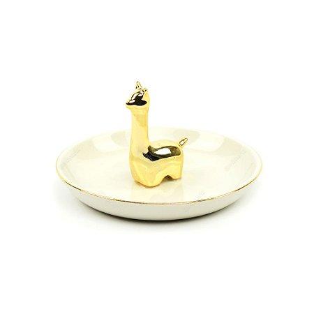 Porta-Joias em Cerâmica Lhama Dourada
