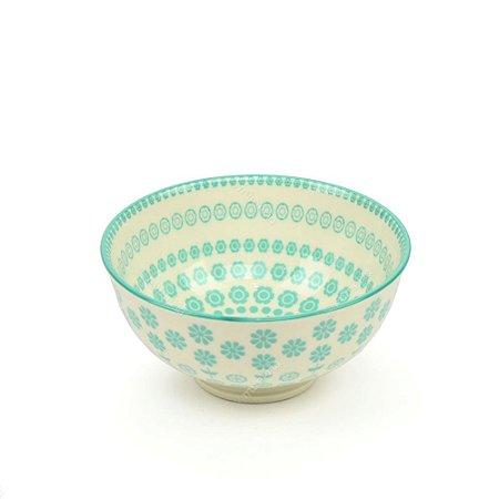 Bowl de Cerâmica Pequeno Círculos Florais Verde Água