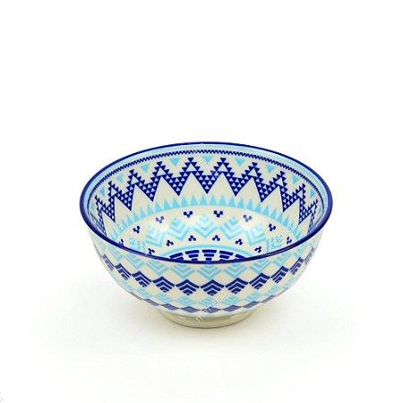 Bowl de Cerâmica Pequeno Geométrico Tons de Azul