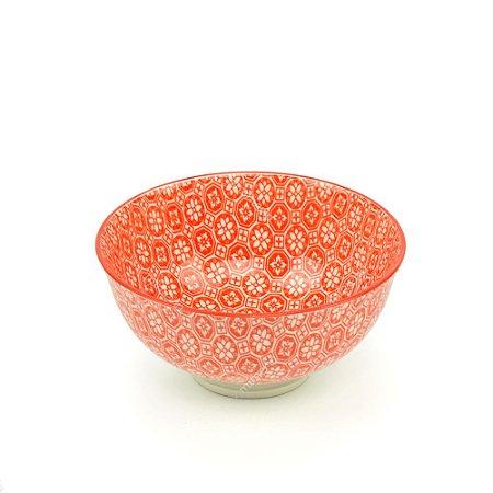 Bowl de Cerâmica Pequeno Mosaico Floral Coral