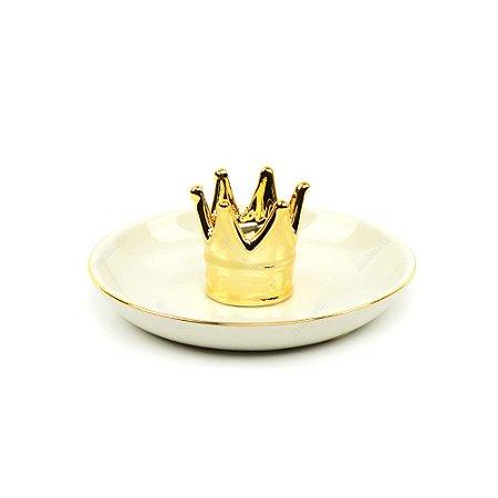 Porta-Joias em Cerâmica Coroa Dourada