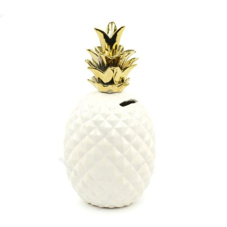 Cofre em Cerâmica Abacaxi Branco e Dourado Grande