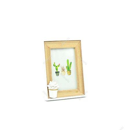 Porta Retrato em Madeira para 1 Foto Cactos Pequeno