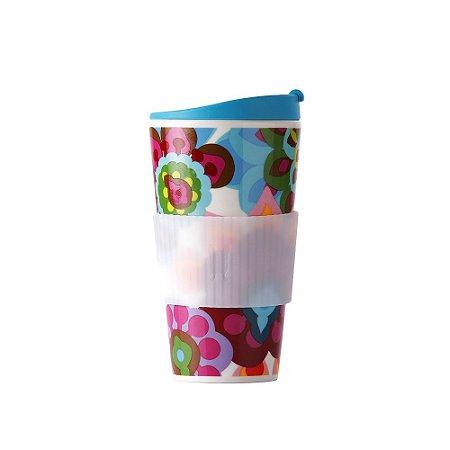 Copo de Porcelana e Silicone Floral Gala 470 ml