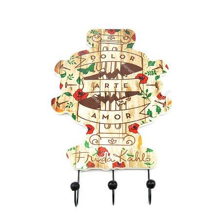 Cabideiro de Madeira Frida Kahlo Dolor Arte Amor