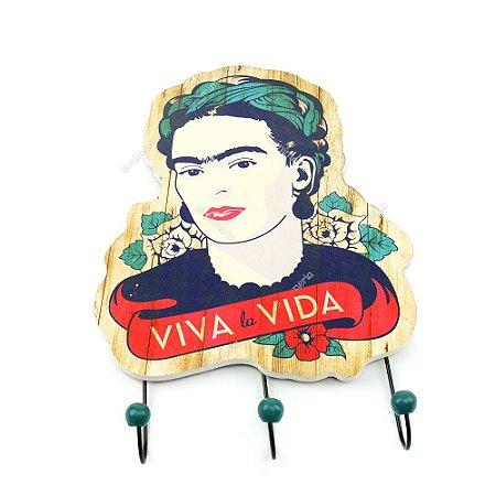 Cabideiro de Madeira Frida Kahlo Viva La Vida
