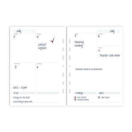 Refil Planner Fichário Médio Agenda sem Data Maxi