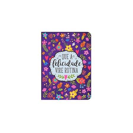 Caderneta Floral Roxa Felicidade Pequena
