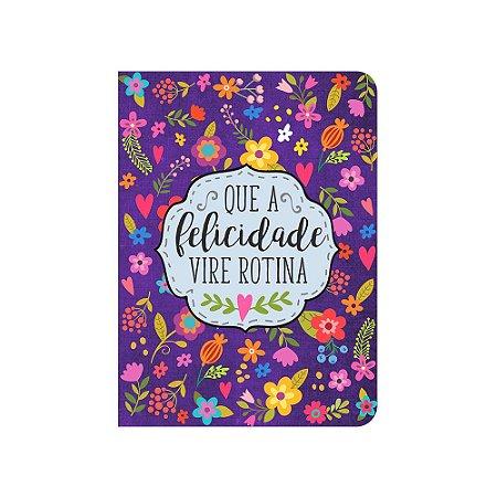 Caderneta Floral Roxa Felicidade Média