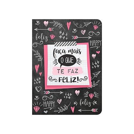 Caderneta Corações Preta Happy Média