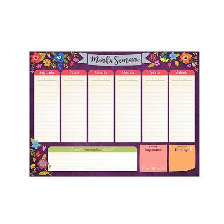 Bloco Planner de Mesa Minha Semana Floral Roxo