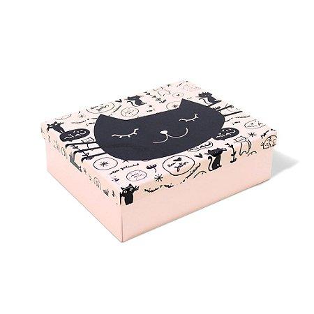 Caixa Organizadora em Aço Gatinho Rosa